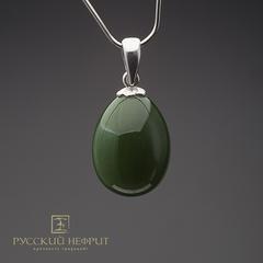 Кулон Яйцо. Реплика фирмы К.Фаберже. Зелёный нефрит, серебро 925пр.