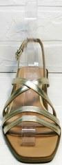 Кожаные женские сандалии босоножки с квадратным носком Wollen M.20237D ZS Gold.