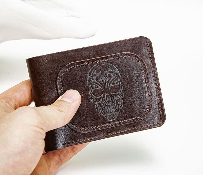 WL267-2 Мужской кошелек ручной работы с черепом (гравировка) фото 02