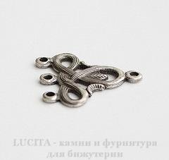 Винтажный декоративный элемент - коннектор (1-3) 21х21 мм (оксид серебра)