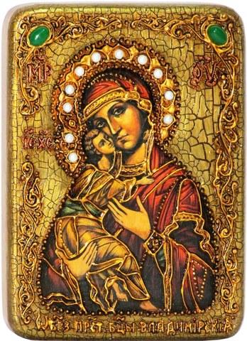 Инкрустированная икона Образ Божией Матери Владимирской  20х15см на натуральном дереве в подарочной коробке