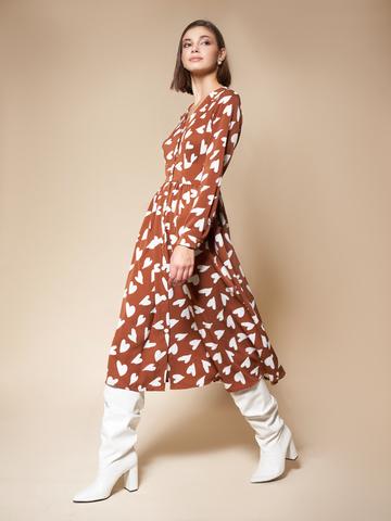 Платье на кокетке «Hearts» коричневый