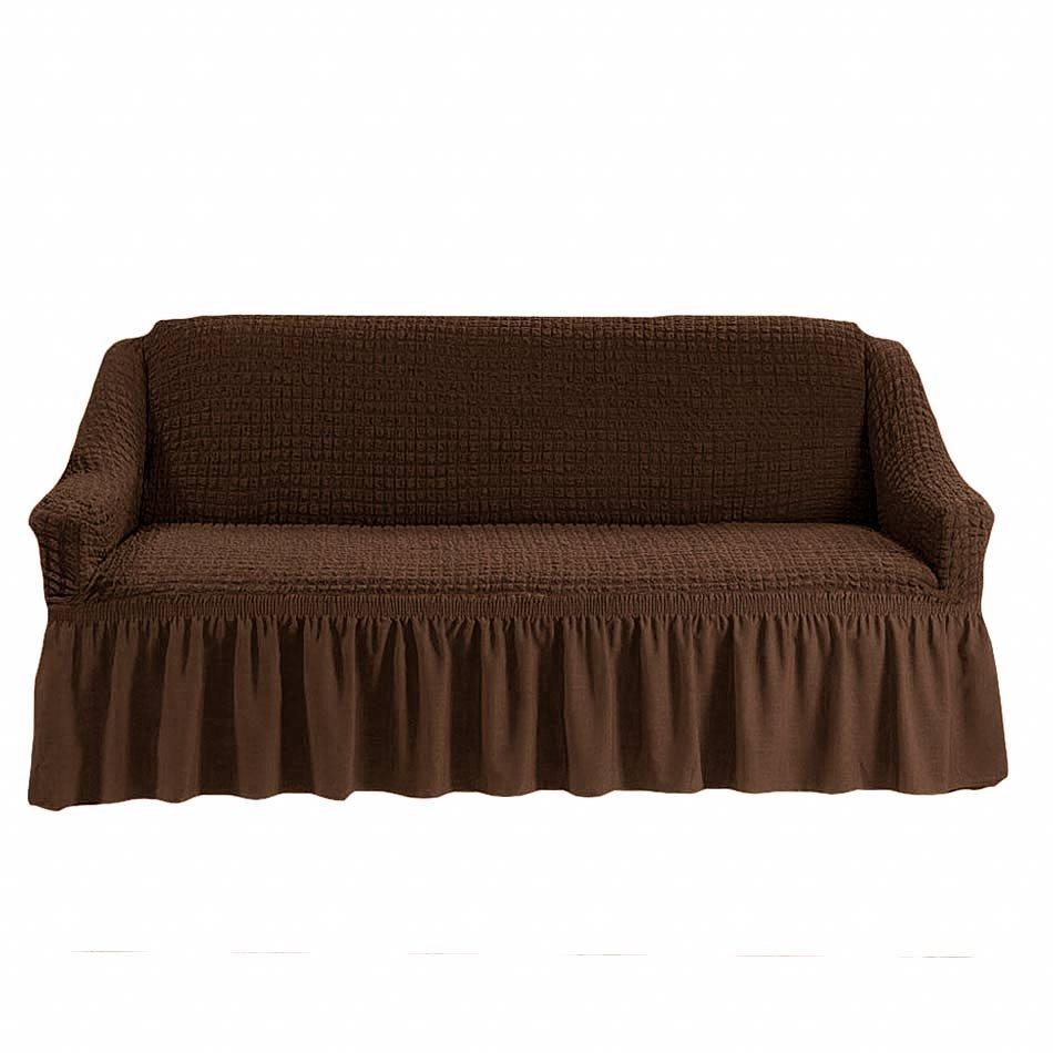 Чехол на трехместный диван, шоколад