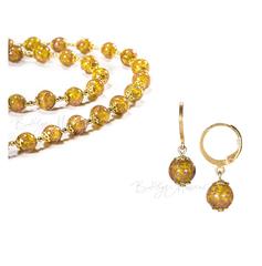 Комплект серьги и бусы желтого цвета из муранского стекла