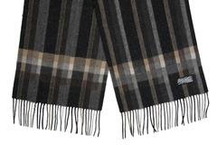 Шерстяной шарф, мужской черный полосатый 30051