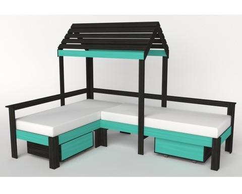 Кровать-домик АВАРА-3 с крышей и ящиками правая