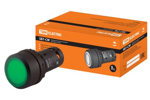 Кнопка SB7-CW3365-220V(LED) d22мм 1з+1р зеленая TDM