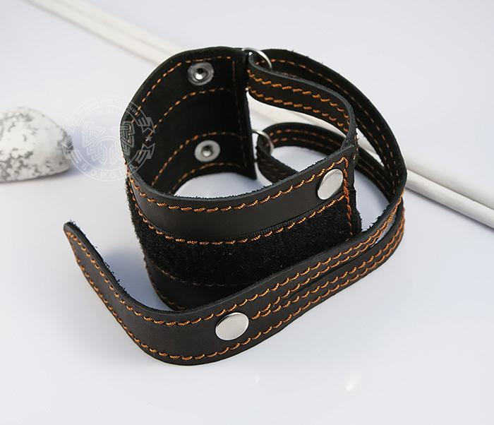 BL425-3 Широкий мужской браслет напульсник из кожи, ручная работа, «Boroda Design» фото 02