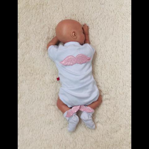 Нарядный комплект боди+носочки Ангел (розовый)