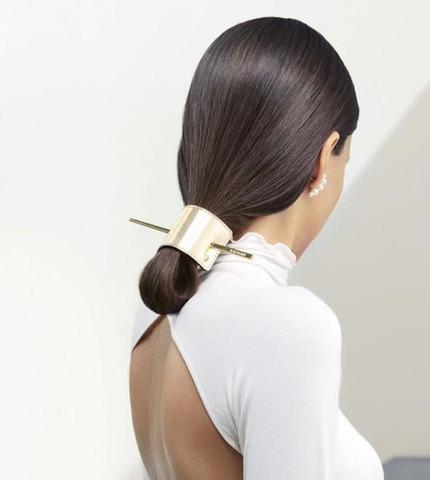 Balmain Заколка из позолоченной кожи Hair Barrette Leather Gold