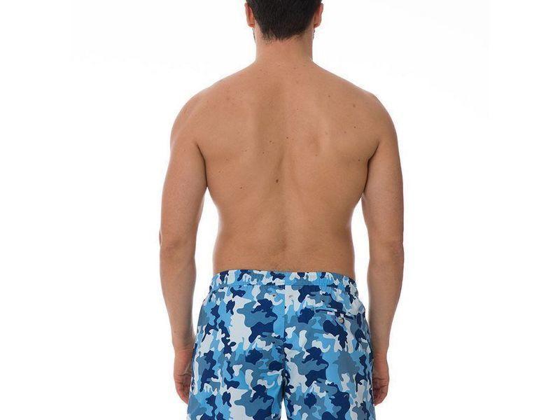 Шорты пляжные мужские голубые KAMO JOHN FRANK с принтом камуфляж JFSS19SW11