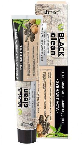 Витэкс Зубные пасты Black Clean Зубная паста Отбеливание + Защита десен с микрочастицами черного активированного угля и корой дуба 85 г