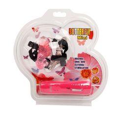 Розовая вибробабочка с фаллосом на регулируемых ремешках