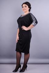 Клео. Вечернее платье больших размеров. Черный+серебро.