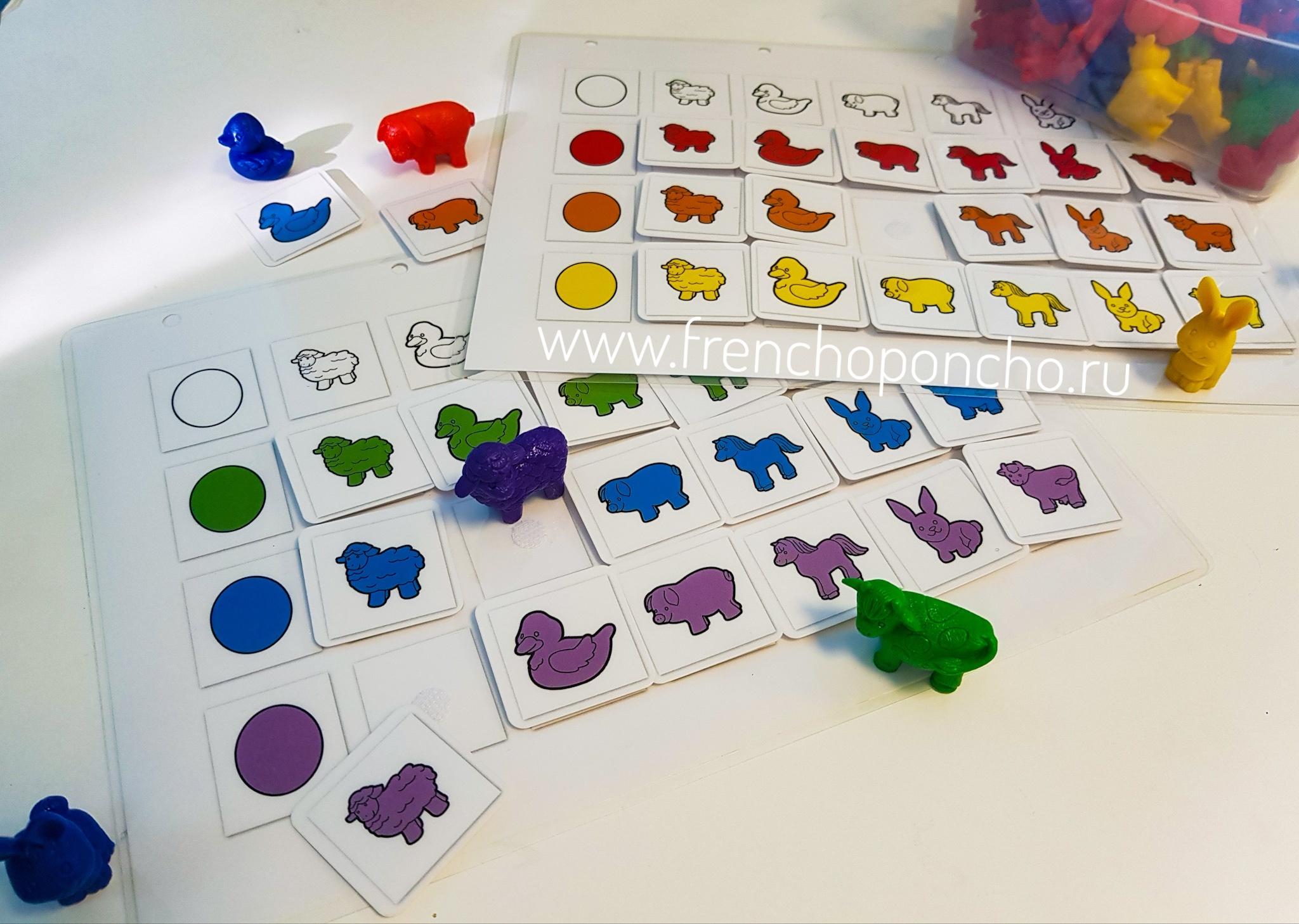 Сортировочная таблица с животными. Набор фигурок в комплекте. Развивающие пособия на липучках Frenchoponcho (Френчопончо)