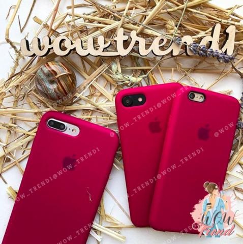 Чехол iPhone 6+/6s+ Silicone Case /rose red/ малиновый 1:1