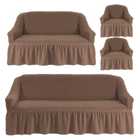 Чехлы на трехместный диван и двухместный диван + два кресла, какао