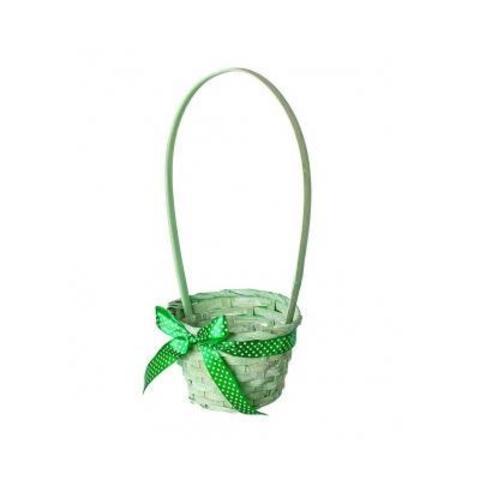 Корзина плетеная (бамбук), D13x9xH31см, зеленый