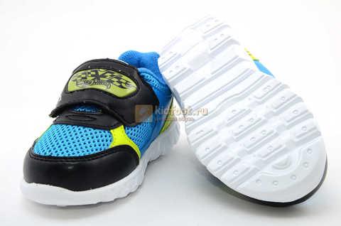 Светящиеся кроссовки Хот Вилс (Hot Wheels) на липучке для мальчиков, цвет синий. Изображение 9 из 15.