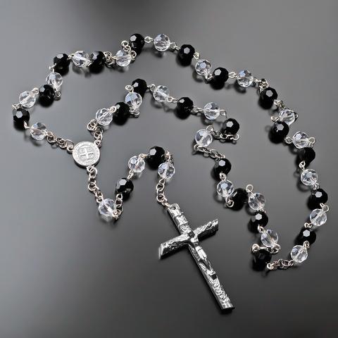 Мужские бусы розарий из чёрного и белого стекляруса и ювелирного сплава с крестом Rico La Cara AMX001247