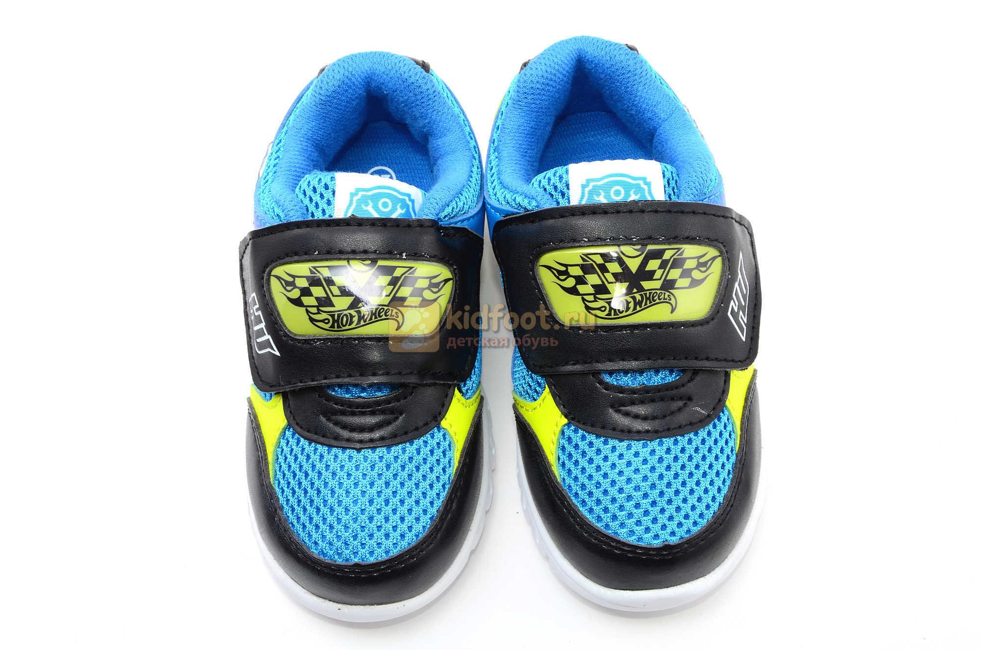 Светящиеся кроссовки Хот Вилс (Hot Wheels) на липучке для мальчиков, цвет синий