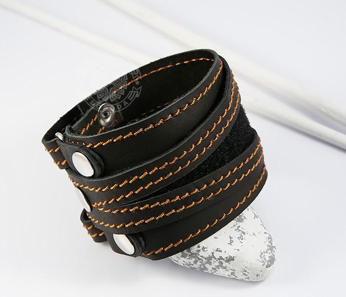 BL425-3 Широкий мужской браслет напульсник из кожи, ручная работа, «Boroda Design» фото 04