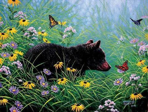 Алмазная Мозаика 40x50 Медвежонок и бабочки