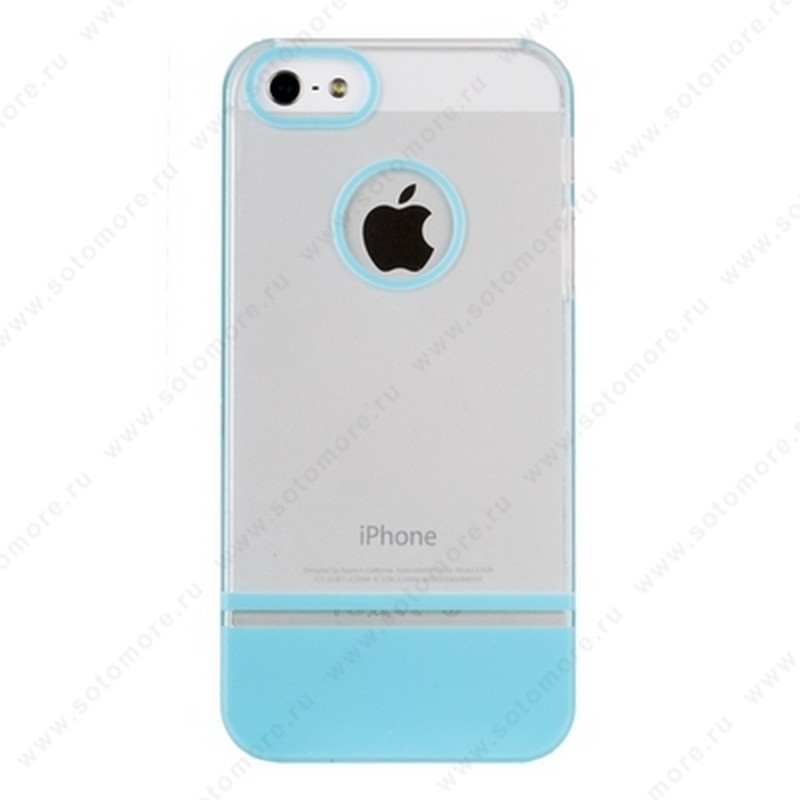 Накладка MOBILE 7 для iPhone SE/ 5s/ 5C/ 5 белый верх голубой низ