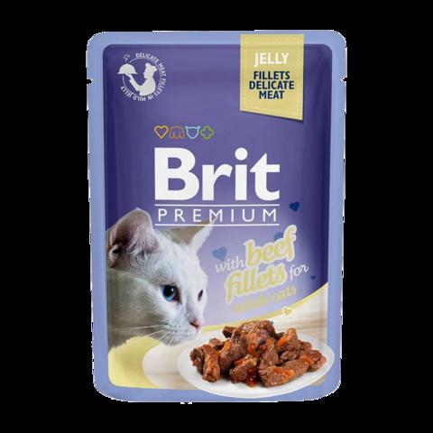 Brit Premium Cat Консервы для кошек филе говядины в желе (пауч)