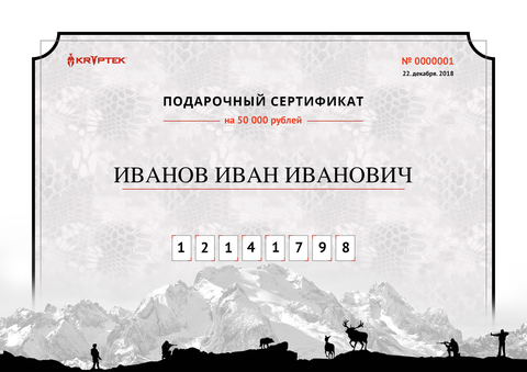 Подарочный сертификат на 25 000 рублей