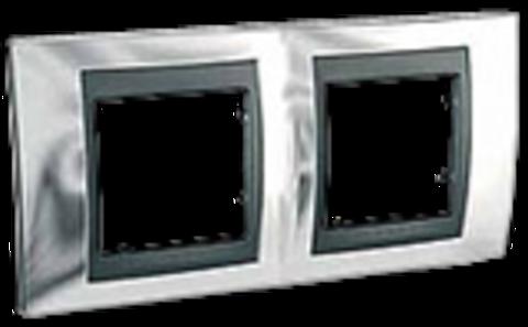 Рамка на 2 поста. Цвет Хром глянцевый-графит. Schneider electric Unica Top. MGU66.004.210