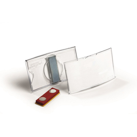 Бейдж Durable горизонтальный 40х75 мм с магнитным зажимом (25 штук в упаковке)