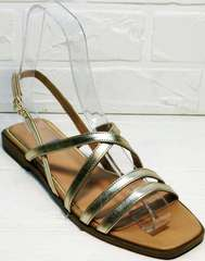 Квадратные сандали женские натуральная кожа Wollen M.20237D ZS Gold.