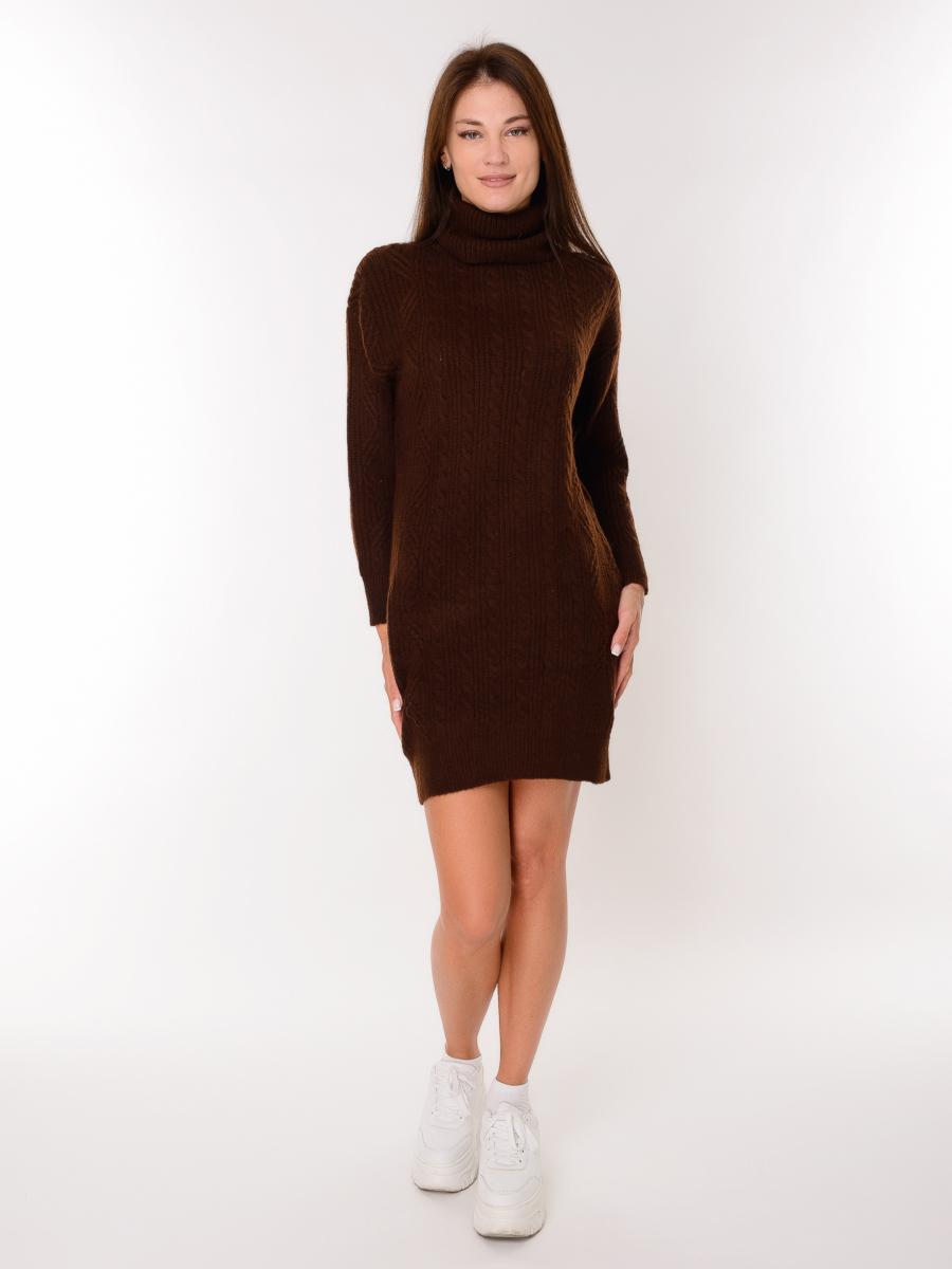 Платье женское вязаное 7013 - Темно-Коричневое - купить по выгодной цене | Kris-Opt.ru - интернет магазин женской, мужской, детской одежды и обуви