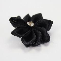 Цветочек черный со стразом 30 мм