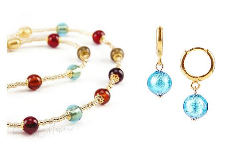 Комплект Carnavale Oro Piccolo (голубые серьги Piccolo, ожерелье)