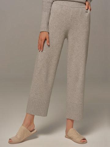 Женские брюки светло-серого цвета из шерсти и кашемира - фото 5