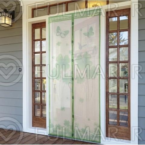 Дверная москитная сетка на магнитах рисунком Клевер 90х210 см Зелёный