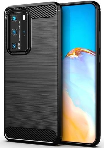 Чехол (клип-кейс) черного цвета для Huawei P40 Pro, серии Carbon от Caseport