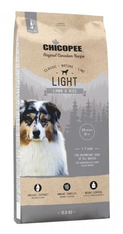 Chicopee CNL Light Lamb & Rice сухой облегченный корм для взрослых собак всех пород с ягненком и рисом 15 кг