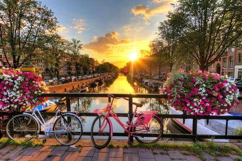 Алмазная Мозаика 40x50 Велосипеды на мосту