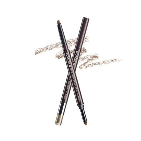 THE SAEM EYE Карандаш-пудра для бровей Eco Soul Pencil & Powder Dual Brow 02.Deep Brown 0,5гр*0,3гр