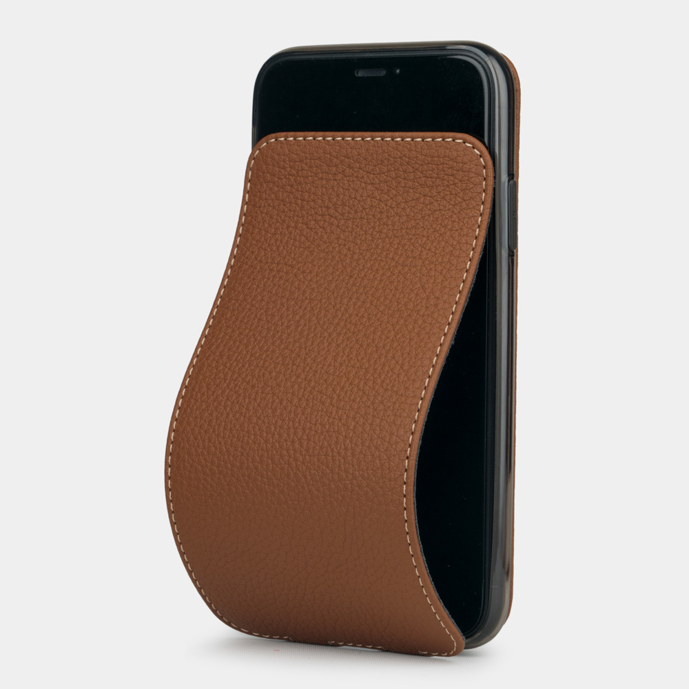 Чехол для iPhone 11 из натуральной кожи теленка, цвета карамель