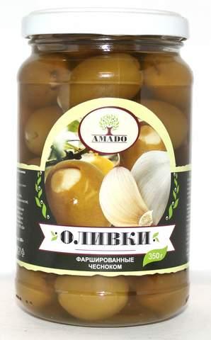 Оливки зеленые фаршированные чесноком Amado, 350г