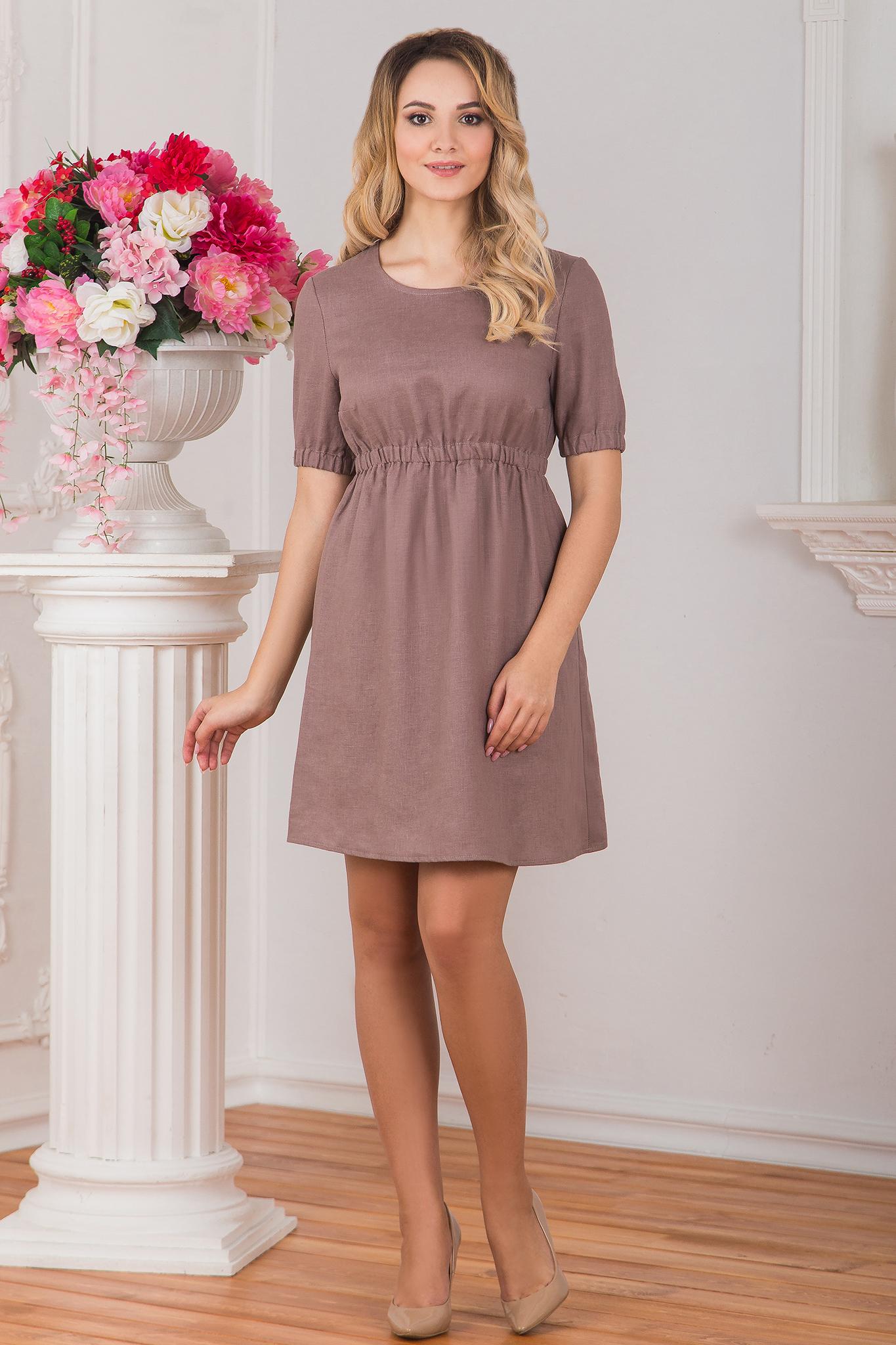 Льняное платье Какао