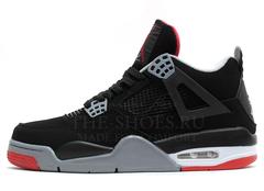 Кроссовки Мужские Nike Air Jordan 4 Retro Black Grey Red