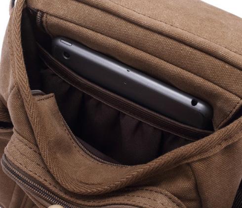BAG386-1 Вместительная мужская сумка на пояс из ткани черного цвета фото 04