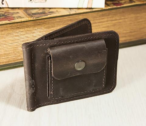WL265 Зажим для купюр с монетницей, ручной шов