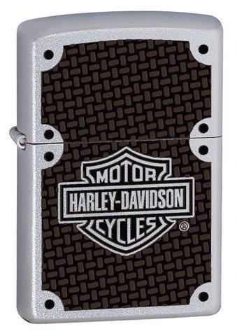 Зажигалка Zippo Harley-Davidson Carbon Fiber с покрытием Satin Chrome, латунь/сталь, серебр123