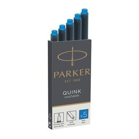 Картридж с чернилами для перьевой ручки Parker Quink, Washable Blue, упаковка из 5 шт.